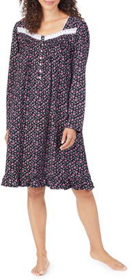 Eileen West Ditsy Long Sleeve Cotton Nightgown
