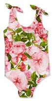 Dolce & Gabbana Floral One-Piece Swimsuit, Pink, Size 4-6