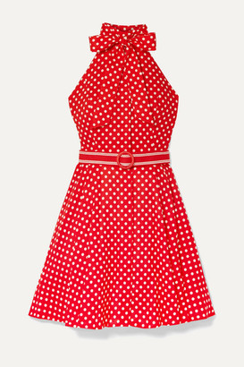 Zimmermann Zinnia Halterneck Polka-dot Linen And Cotton-blend Voile Mini Dress - Red
