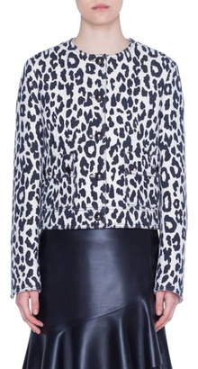 Akris Punto Leopard Print Wool & Silk Crepe Jacket