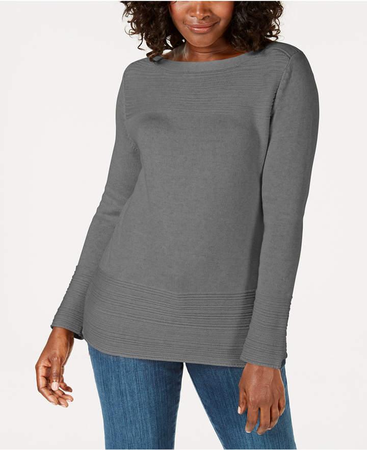 Karen Scott Cotton Ottoman-Stitch Boat-Neck Sweater