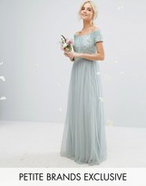 Maya Petite Bardot Maxi Dress With Delicate Sequins And Tulle Skirt