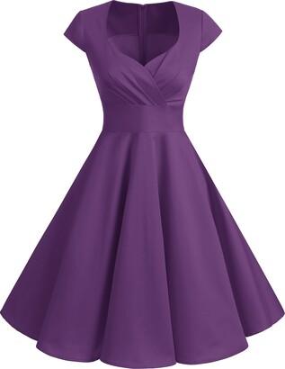 bbonlinedress Women's 50s 60s A Line Rockabilly Dress Cap Sleeve Vintage Swing Party Dress Burgundy 2XL
