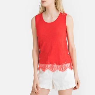La Redoute Collections Linen Laced Hem Vest Top