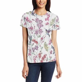 Bjamaj Charm Botanical White Multi Hummingbirds Women's Casual T-Shirt Short Sleeve Tunic Tops Round Neck Blouse Comfy