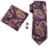 CAOFENVOO Men's Tie Hanky Cufflinks Jacquard Woven Silk Necktie N-0571