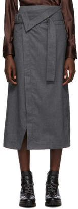3.1 Phillip Lim Grey Flannel Side Wrap Skirt
