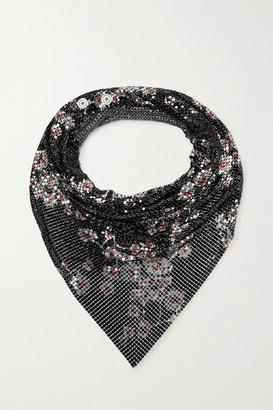 Paco Rabanne Floral-print Chainmail Scarf - Black