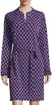 Laundry by Shelli Segal Mandarin-Collar Graphic Dress, Dark Purple