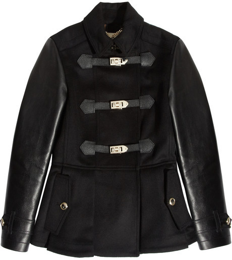Burberry Leather-trimmed wool and cashmere-blend jacket