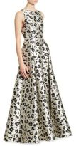 Alice + Olivia Drea Floral-Print Pleated A-Line Gown