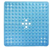 """Non Slip Shower Mat - Non-Toxic (BPA-Free) & Anti-Bacterial   Bath Mat with Original GripTight (TM) Technology & Powerful Suction Cups   21"""" x 21"""", Clear Blue"""