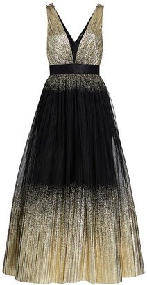 Jenny Packham Sleeveless Metallic Cascading Gown