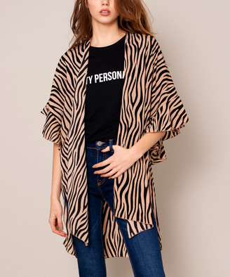 Avenue Zoe Women's Kimono Cardigans GOLD - Gold Zebra Ruffle Kimono - Women
