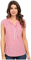 U.S. Polo Assn. Cap Sleeve 1/2 Placket Pullover Check Shirt