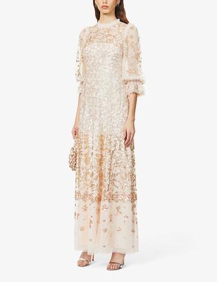 Semi-sheer sequinned maxi dress