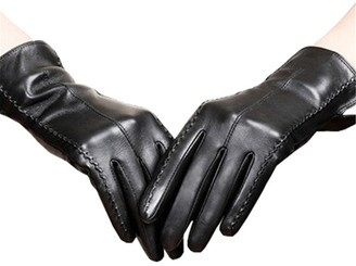 Long Keeper Women's Touchscreen Texting Driving Winter Warm PU Leather Gloves (Black)(Size: M)