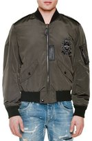Dolce & Gabbana Embroidered-Patch Zip-Up Bomber Jacket, Military Green