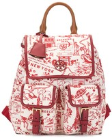 Tory Burch Perry map-print leather trimmed backpack