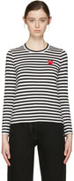Comme des Garcons Black & White Striped Heart Patch T-Shirt