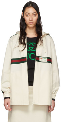 Gucci Off-White Web Zip-Up Hoodie