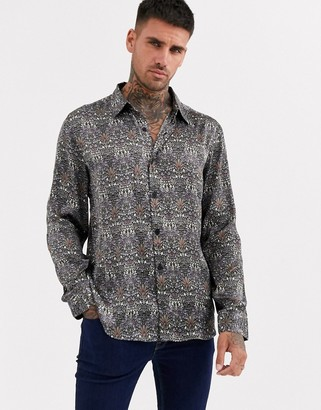 Aray dark satin print loose fit shirt