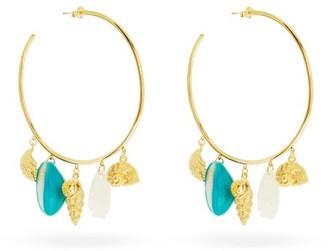 Aurelie Bidermann Aguas Shell-charm Gold-plated Hoop Earrings - Gold