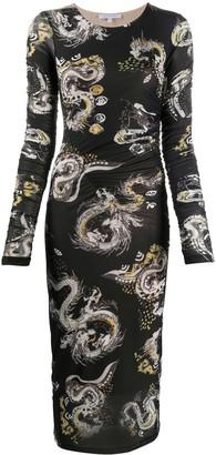 Patrizia Pepe Dragon print midi dress