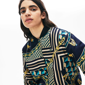 Lacoste Women's LIVE Lightweight Scarf-Print Bomber Jacket