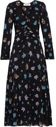 Diane von Furstenberg Vanessa Ruched Floral-print Stretch-mesh Midi Dress