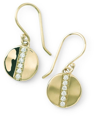 Ippolita 18K Gold SensoA Small 8mm Disc Earrings with Diamonds