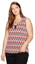 Jones New York Women's Plus Size Ikat Chevron Slvless Scoop Nk
