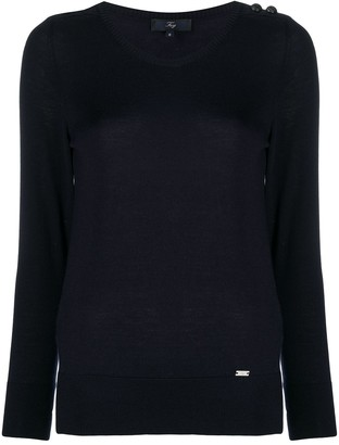 Fay Fine Knit Jumper With Embossed Button Detail