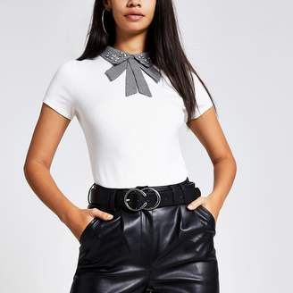 River Island Womens White houndstooth embellished collar tee