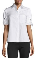 See by Chloe Short-Sleeve Poplin Blouse, White