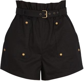 Saint Laurent Black high-waisted cotton-blend shorts
