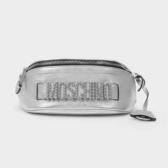 Moschino Logo Belt Bag In Nickel Metallic Leather