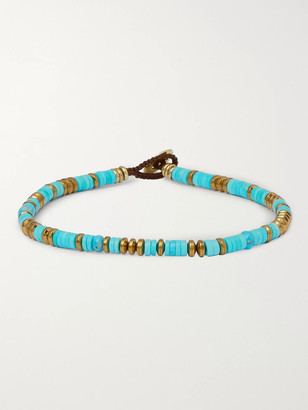 Mikia Turquoise, Hematite And Gold-tone Beaded Bracelet - Blue