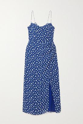 Reformation Kourtney Printed Georgette Midi Dress - Blue