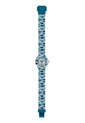 HIP HOP #Error# Kids Fun Watch Collection Mono-Colour White dial 3 Hands Quartz Movement and Silicon Printed Light Blue Strap HWU0884
