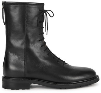 LEGRES Black leather ankle boots
