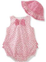 Absorba 2-Piece Bow Tie Floral Bubble Romper and Hat Set in Hot Pink