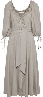 Jonathan Simkhai Belted Ruffle-trimmed Linen-blend Midi Dress