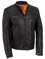 Wilsons Leather Mens Authentic Leather Motorcycle Jacket W/ Hidden Zippers