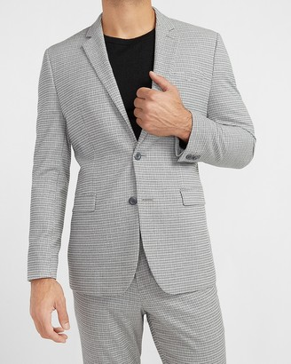 Express Slim Gray Houndstooth Flannel Suit Jacket