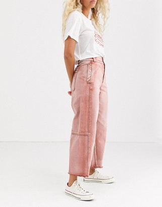 We The Free By Free People by Free People Monrow cropped wide leg jeans-Red