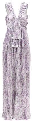 Paco Rabanne Floral-print Metallic-plisse Dress - Silver