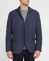 Hackett Navy Kinlock Suede Elbow Patches and Collar Quilted Jacket