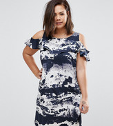AX Paris Plus Dress With Cold Shoulder And Ruffle Detail In Tie Dye Print