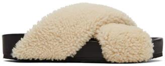 Jil Sander Off-White Shearling Sandals